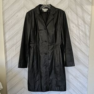 Nine West Black Leather Trench Coat